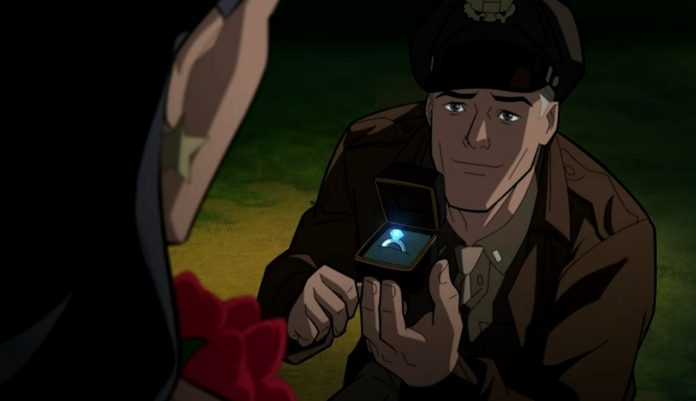 Steve Trevor proposes to Wonder Woman in new JUSTICE SOCIETY: WORLD WAR clip
