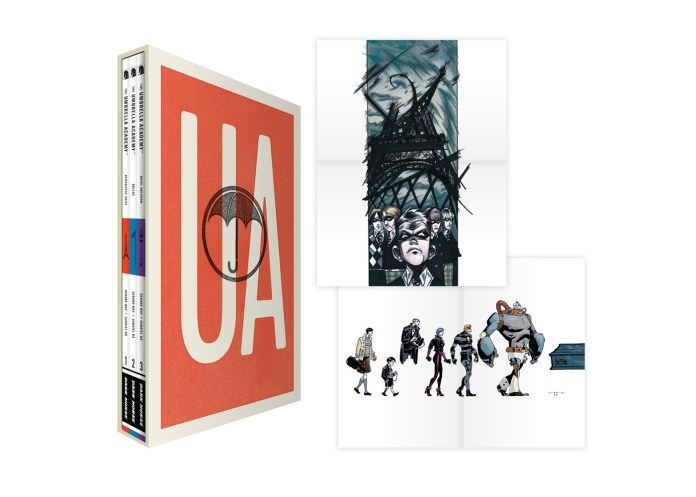 THE UMBRELLA ACADEMY BOXED SET collects all three Dark Horse trade paperbacks