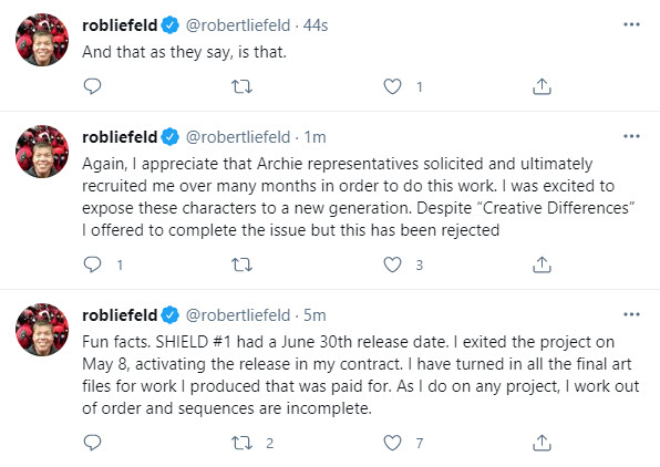 Archie Comics will publish THE SHIELD #1 with Rob Liefeld art and a new scripter